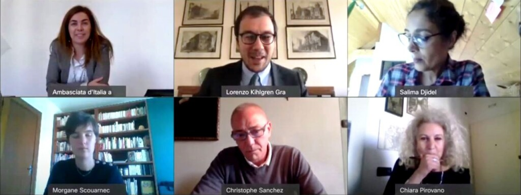 Photo mosaic of participants in the webinar.